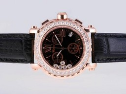 Fake Great Chopard Happy Sport Working Chronograph Rose Gold Case Diamond Bezel AAA Watches [E8R2]