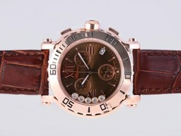 Fake Modern Chopard Happy Sport Working Chronograph Rose Gold Case with Brown Dial AAA Watches [B7S1]