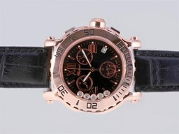 Fake Perfect Chopard Happy Sport Working Chronograph Rose Gold Case with Black Dial AAA Watches [E6U6]