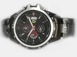 Fake Cool Ferrari Working Chronograph Full PVD with Black Dial-New Version AAA Watches [W9B1]