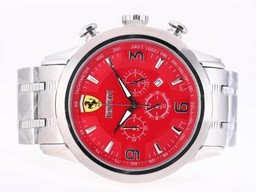 Fake Cool Ferrari Working Chronograph with Red Dial AAA Watches [T5H1]