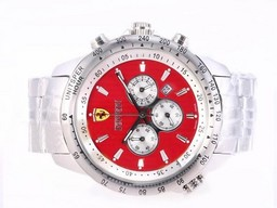 Fake Cool Ferrari Working Chronograph with Red Dial AAA Watches [C6N3]