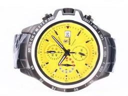 Fake Fancy Ferrari Working Chronograph Full PVD with Yellow Dial AAA Watches [W9G4]