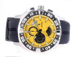 Fake Fancy Ferrari Working Chronograph with Yellow Dial-Rubber Strap AAA Watches [U7A8]