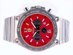 Fake Gorgeous Ferrari Working Chronograph with Red Dial-Sapphire Crystal AAA Watches [L1B1]