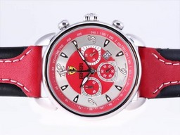Fake Modern Ferrari Working Chronograph with Red Dial and Strap AAA Watches [B3D9]