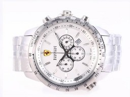 Fake Modern Ferrari Working Chronograph White Dial AAA kellot [