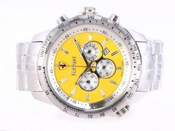 Fake Modern Ferrari Working Chronograph with Yellow Dial AAA Watches [U9N2]