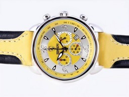 Fake Perfect Ferrari Working Chronograph with Yellow Dial and Strap AAA Watches [U2E6]