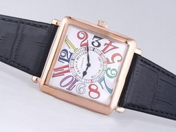 Fake Cool Franck Muller Master Square Rose Gold Case with White Dial-Color AAA Watches [W2A5]
