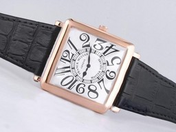 Fake Cool Franck Muller Master Square Rose Gold Case with White Dial AAA Watches [J1B8]