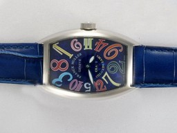 Fake Fancy Franck Muller Crazy Hours Automatic with Blue Dial and Strap AAA Watches [O6L5]
