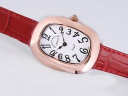 Fake Fancy Franck Muller Galet Rose Gold Case with White Dial and Red Strap AAA Watches [O5B7]