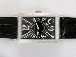 Fake Fancy Franck Muller Long Island Automatic Diamond Bezel with Black Dial AAA Watches [O5R9]