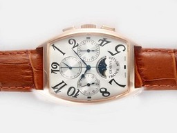 Fake Modern Franck Muller Curvex Chronograph Lemania Movement Rose Gold Case AAA Watches [I7R5]