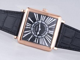 Fake Popular Franck Muller Master Square Rose Gold Case with Black Dial AAA Watches [W2J1]