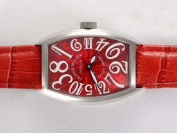 Fake Quintessential Franck Muller Crazy Hours Automatic with Red Dial and Strap AAA Watches [N4P4]