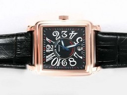 Fake Vintage Franck Muller Conquistador Automatic Rose Gold Case with Black Dial AAA Watches [F8M1]