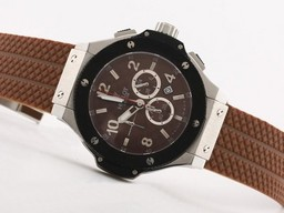 Fake Cool Hublot Big Bang Working Chrono SS Case Brown Dial -Same Structure As 7750 Movement AAA Watches [V5R7]