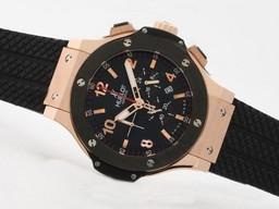 Fake Jobb Hublot Big Bang Working Chrono Rose Gold veske med Black Bezel AAA Klokker [ E1S1 ]