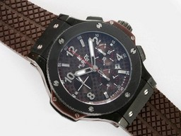 Fake Gorgeous Hublot Big Bang Chronograph Asia Valjoux 7750 Movement With Brown Dial AAA Watches [M4I6]