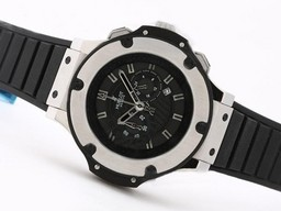 Falso Grande Hublot Big Bang di lavoro , causa re Chronograph SS con quadrante nero Orologi AAA [ B6S8 ]