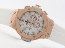 Fake Perfect Hublot Big Bang Working Chronograph Rose Gold Case with White Dial AAA Watches [L4R7]