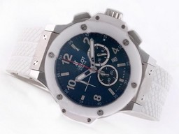 Fake Perfect Hublot Big Bang Working Chronograph with Blue Bezel-Same Structure As 7750 Movement AAA Watches [M3D9]