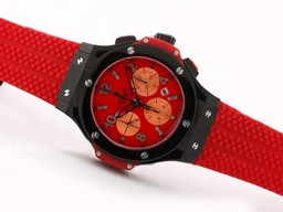 Fake Popular Hublot Big Bang Chronograph Asia Valjoux 7750 PVD Case with Red Dial AAA Watches [T4P4]
