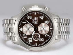 Fake Cool IWC Saint Exupery Chronograph Automatic med Brown Dial AAA klockor [ G9C9 ]
