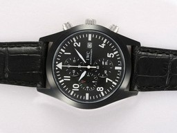 Fake Cool IWC Saint Exupery Working Chronograph PVD Casing with Black Dial AAA Watches [A5Q9]
