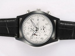 Fake Cool IWC Saint Exupery Working Chronograph PVD Casing med White Dial AAA Klokker [ O6Q6 ]
