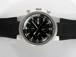 Fake Fancy IWC Aquatimer Chrono-Automatic with Black Dial and Rubber Strap AAA Watches [X2W7]