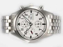 Fake Fancy IWC Pilot Chrono 3717 Automatic With White Dial-Same Chassis As AAA Watches [U9W2]