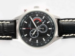 Fake Fancy IWC Saint Exupery Working Chronograph with Black Dial AAA Watches [A4U1]