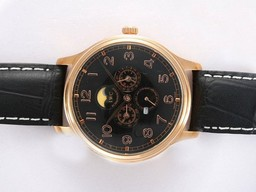 Fake Gorgeous IWC Da Vinci Perpetual Calendar Automatic Gold Case with Black Dial AAA Watches [N9W6]
