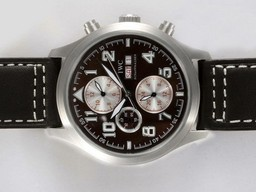 Fake Gorgeous IWC Saint Exupery Chronograph Automatic with Brown Dial AAA Watches [E9T2]