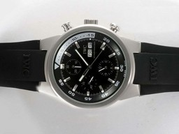Fake Great IWC Aquatimer Chrono-Automatic with Black Dial and Rubber Strap AAA Watches [H7O5]