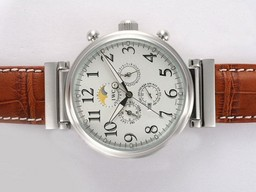 Fake Great IWC Da Vinci Perpetual Calendar Automatic with White Dial AAA Watches [F2F9]