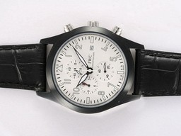 Fake Great IWC Saint Exupery Working Chronograph PVD Casing with White Dial AAA Watches [G5O8]