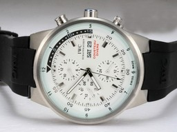 Fake Modern IWC Aquatimer Chronograph Automatic White Dial with Rubber Strap AAA Watches [V7U3]