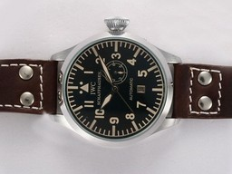 Fake Modern IWC Big Pilot Automatic with Black Dial -Brown Strap AAA Watches [W7U5]