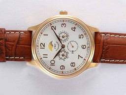Fake Modern IWC Da Vinci Perpetual Calendar Automatic Gold Case with White Dial AAA Watches [V7Q1]
