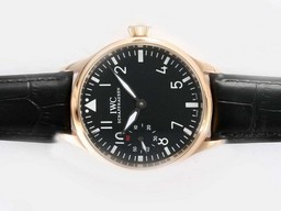 Fake Perfect IWC Big Pilot Manual Winding Gold Case with Black Dial AAA Watches [R4P1]