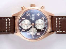 Fake Perfect IWC Saint Exupery Chronograph Movement Rose Golden Case AAA Watches [S4U7]