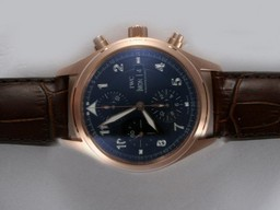 Fake Popular IWC Pilot Chronograph Movement Rose Gold Case AAA Watches [D1N7]