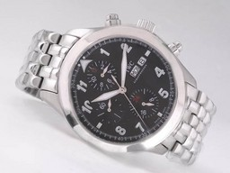 Fake Quintessential IWC Saint Exupery Chronograph Automatic with Black Dial-Number AAA Watches [J6J6]