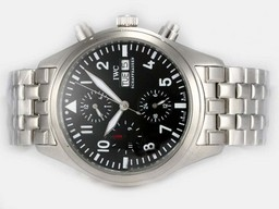 Fake Vintage IWC Pilot Chrono 3717 Automatic With Black Dial-Same Chassis As ETA 7750 Automatic Movement AAA Watches [E8W9]