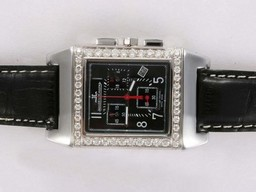 Fake Fancy Jaeger-Lecoultre Reverso Working Chronogragh with Diamond Bezel AAA Watches [W2J1]