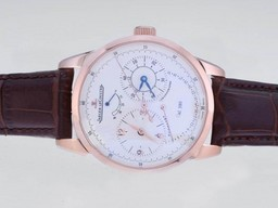 Fake Perfect Jaeger-Lecoultre Duometre Working Power Reserve Rose Gold Case AAA Watches [C6L9]